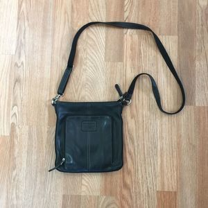 Fossil Crosstown Black Leather Flat Crossbody Bag